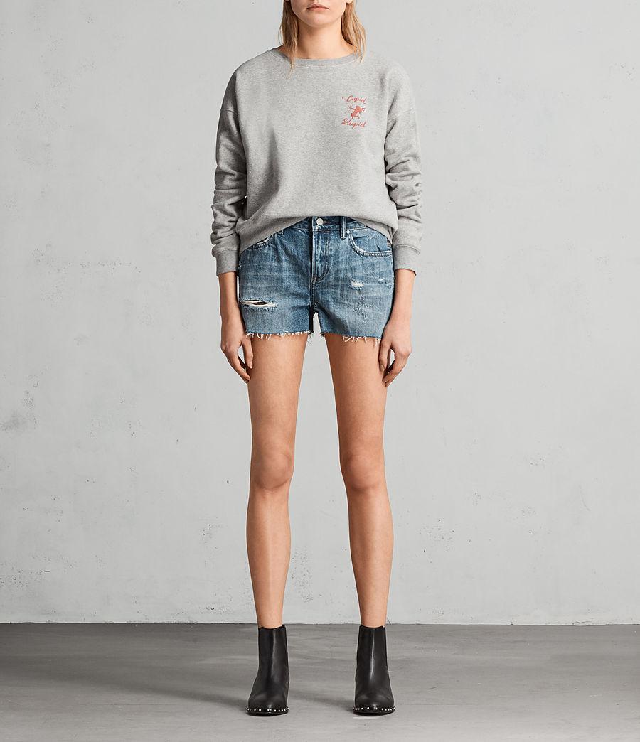 Women's Serene Embroidered Denim Shorts (vintage_indigo_blu) - Image 1