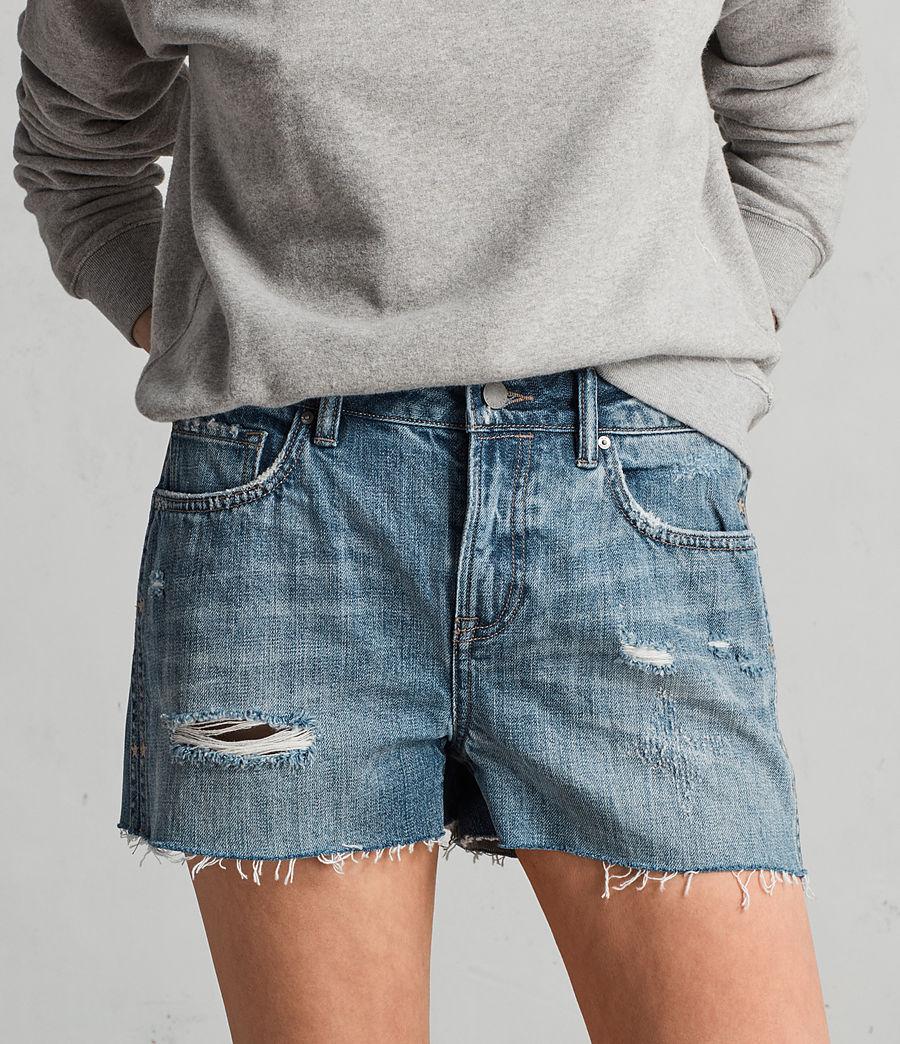 Women's Serene Embroidered Denim Shorts (vintage_indigo_blu) - Image 2