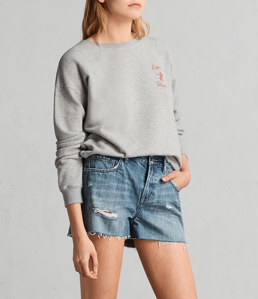 Women's Serene Embroidered Denim Shorts (vintage_indigo_blu) - Image 3