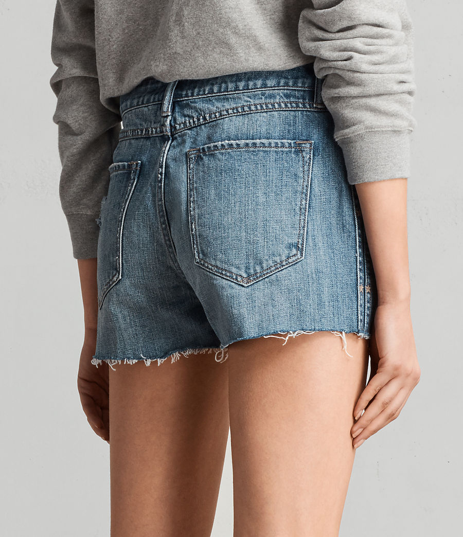 Women's Serene Embroidered Denim Shorts (vintage_indigo_blu) - Image 4