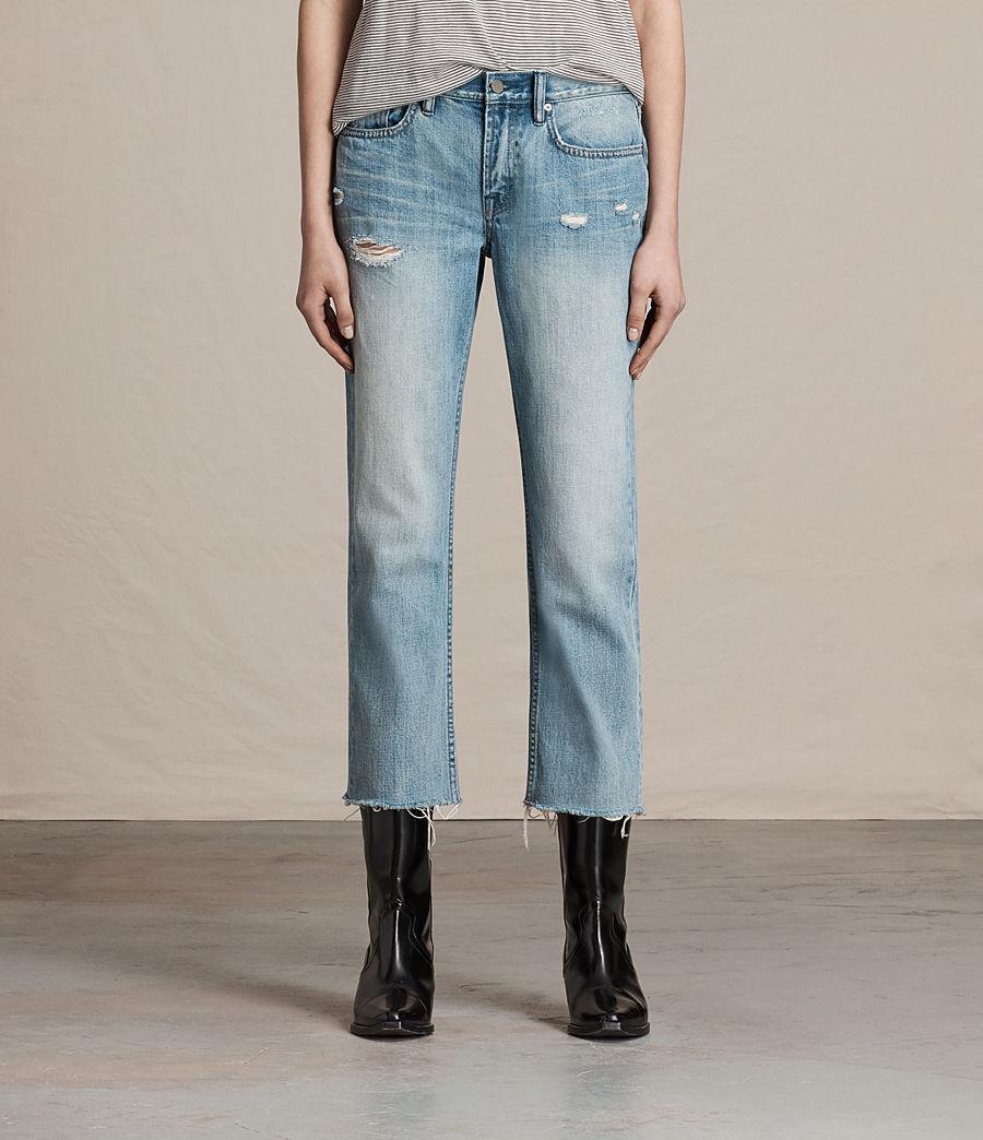 Women's Serene Cropped Kick Flare Slim Jeans (vintage_indigo_blu) - Image 1