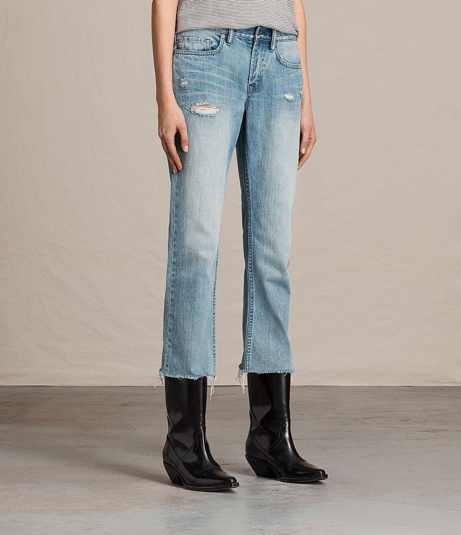 Women's Serene Cropped Kick Flare Slim Jeans (vintage_indigo_blu) - Image 3