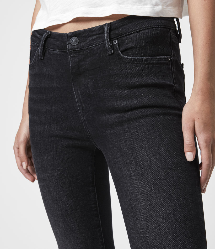 Womens Grace Cropped Ankle Fray Mid-Rise Skinny Jeans, Washed Black (washed_black) - Image 2