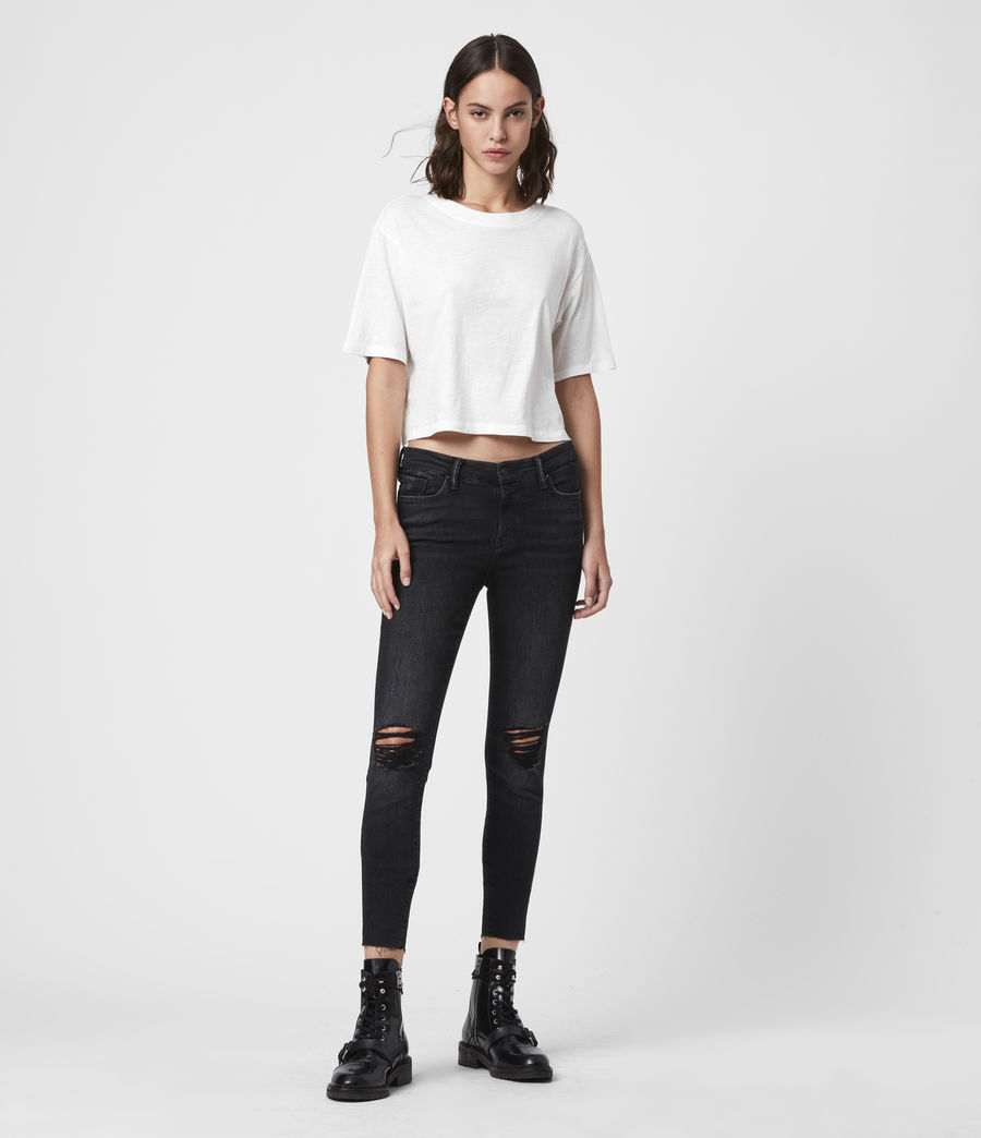Womens Grace Cropped Ankle Fray Mid-Rise Skinny Jeans, Washed Black (washed_black) - Image 3