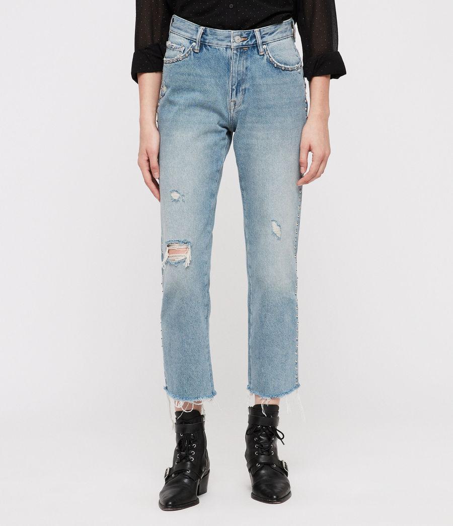 Women's Ava Stud Straight Jeans (light_indigo_blue) - Image 1
