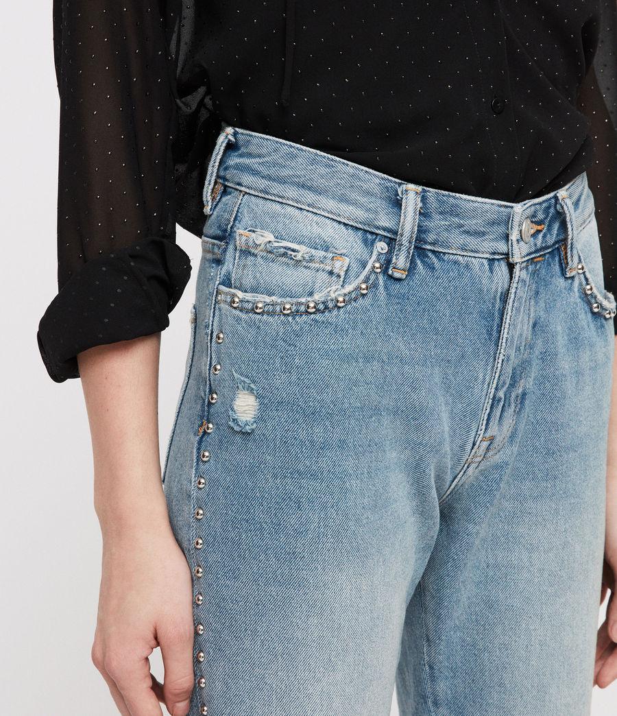 Women's Ava Stud Straight Jeans (light_indigo_blue) - Image 2