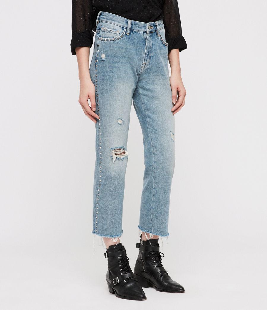 Women's Ava Stud Straight Jeans (light_indigo_blue) - Image 3