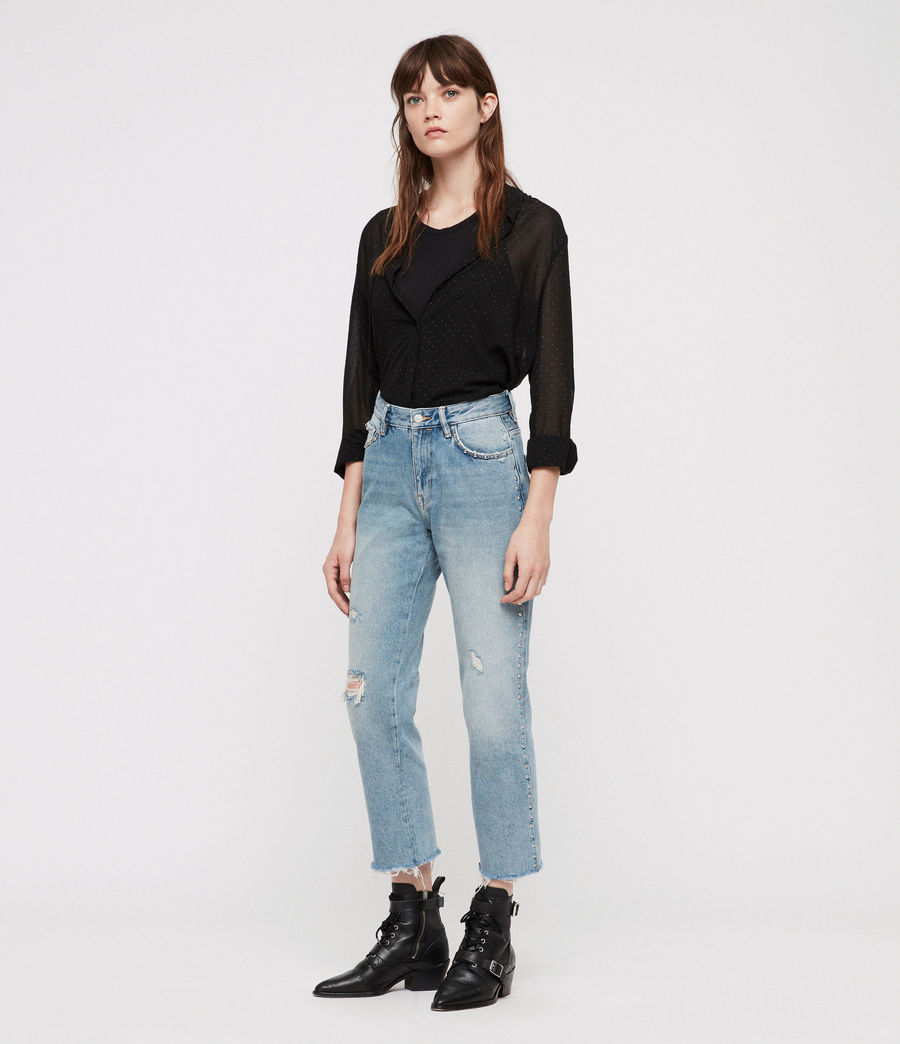 Women's Ava Stud Straight Jeans (light_indigo_blue) - Image 4