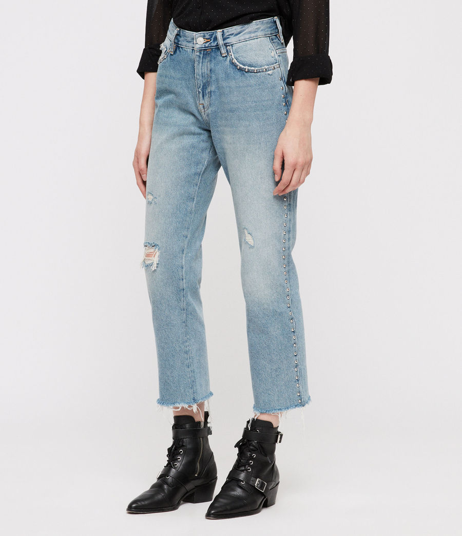 Women's Ava Stud Straight Jeans (light_indigo_blue) - Image 5