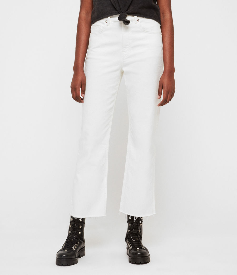 Womens Eden Hirise Straight Cropped Jeans, White (white) - Image 1