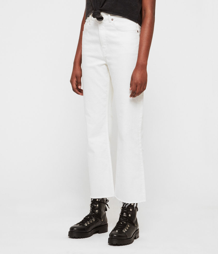 Womens Eden Hirise Straight Cropped Jeans, White (white) - Image 2