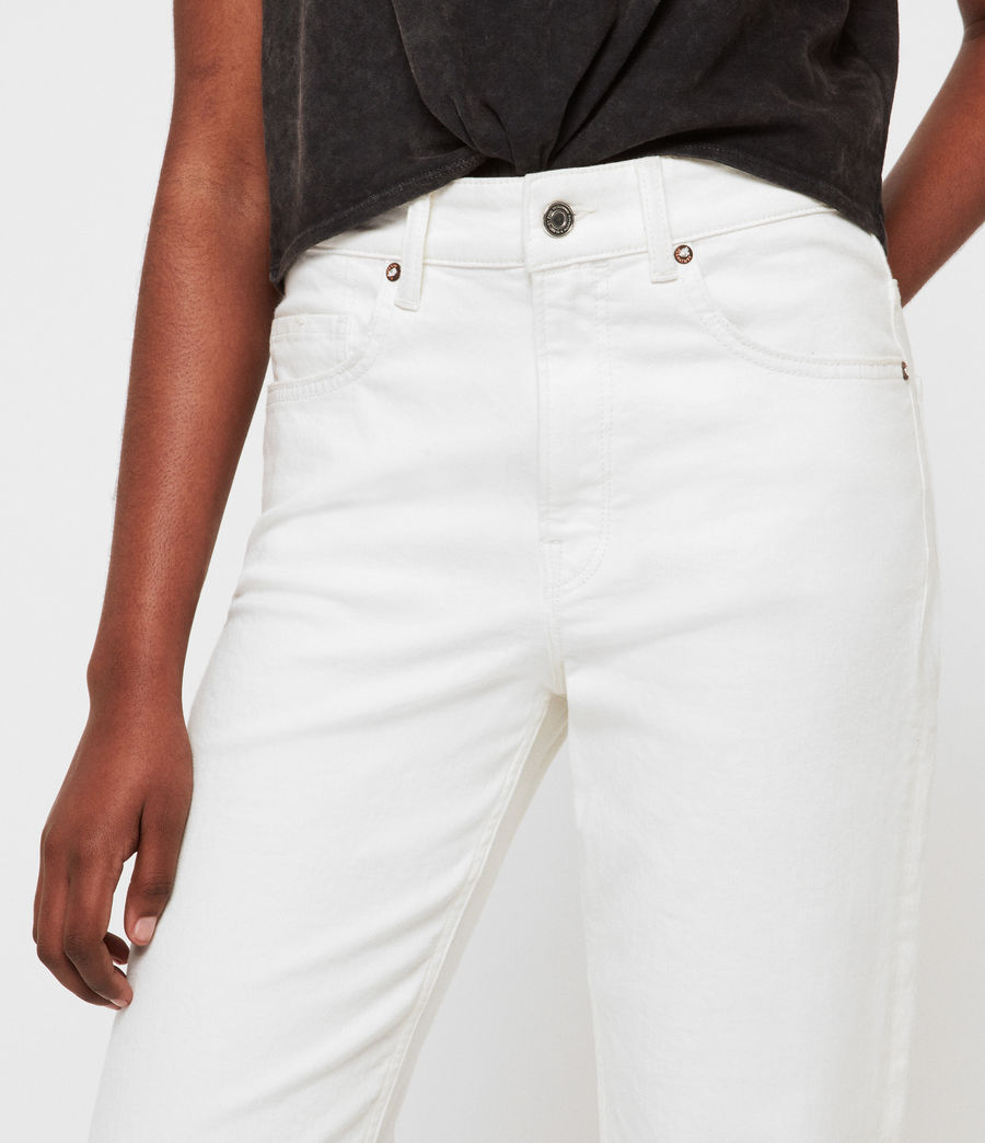Womens Eden Hirise Straight Cropped Jeans, White (white) - Image 3