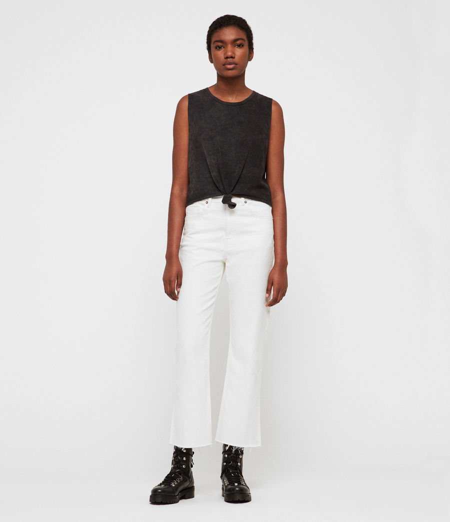Womens Eden Hirise Straight Cropped Jeans, White (white) - Image 4