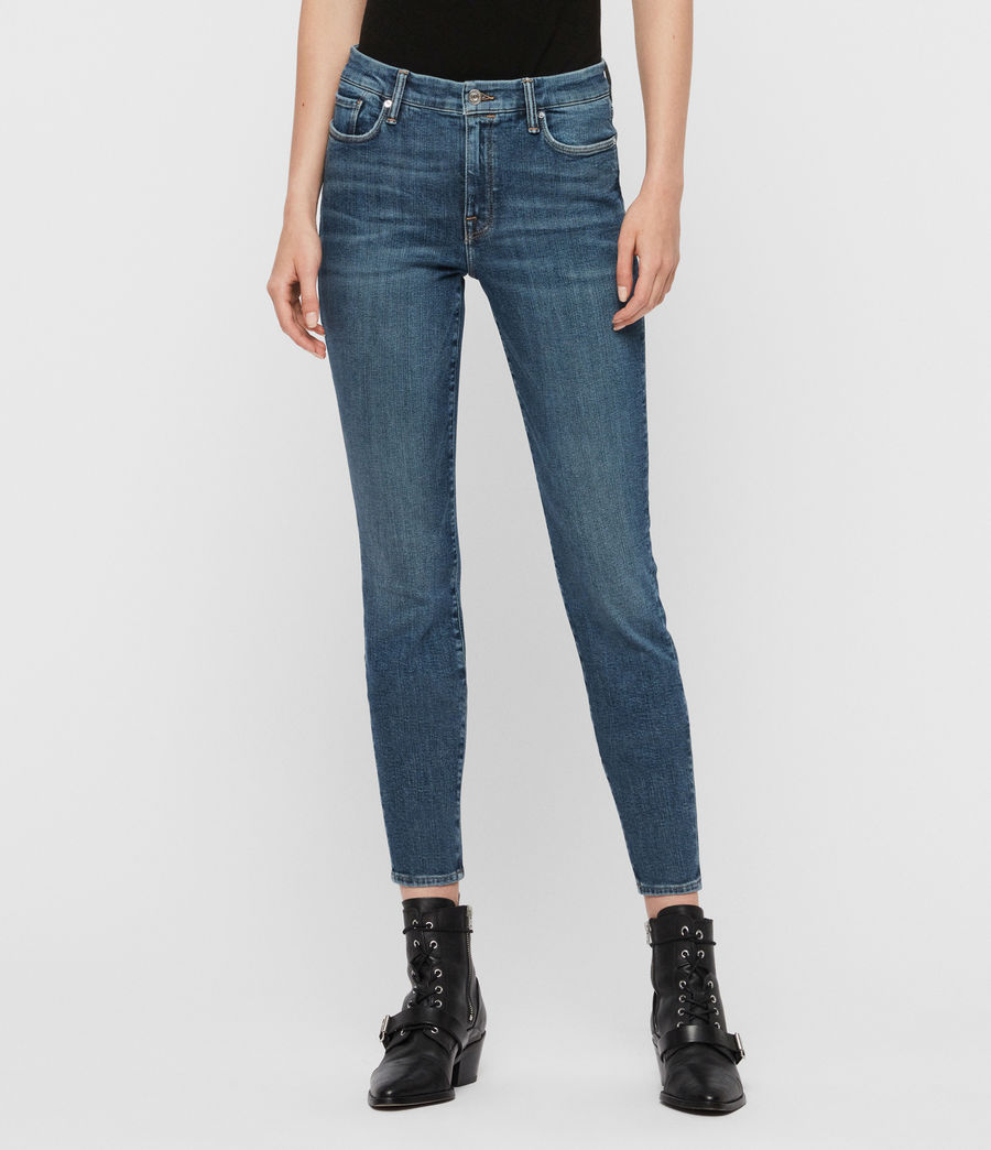 Womens Grace Mid-Rise Skinny Jeans, Vintage Indigo Blue (vintage_indigo_blu) - Image 1