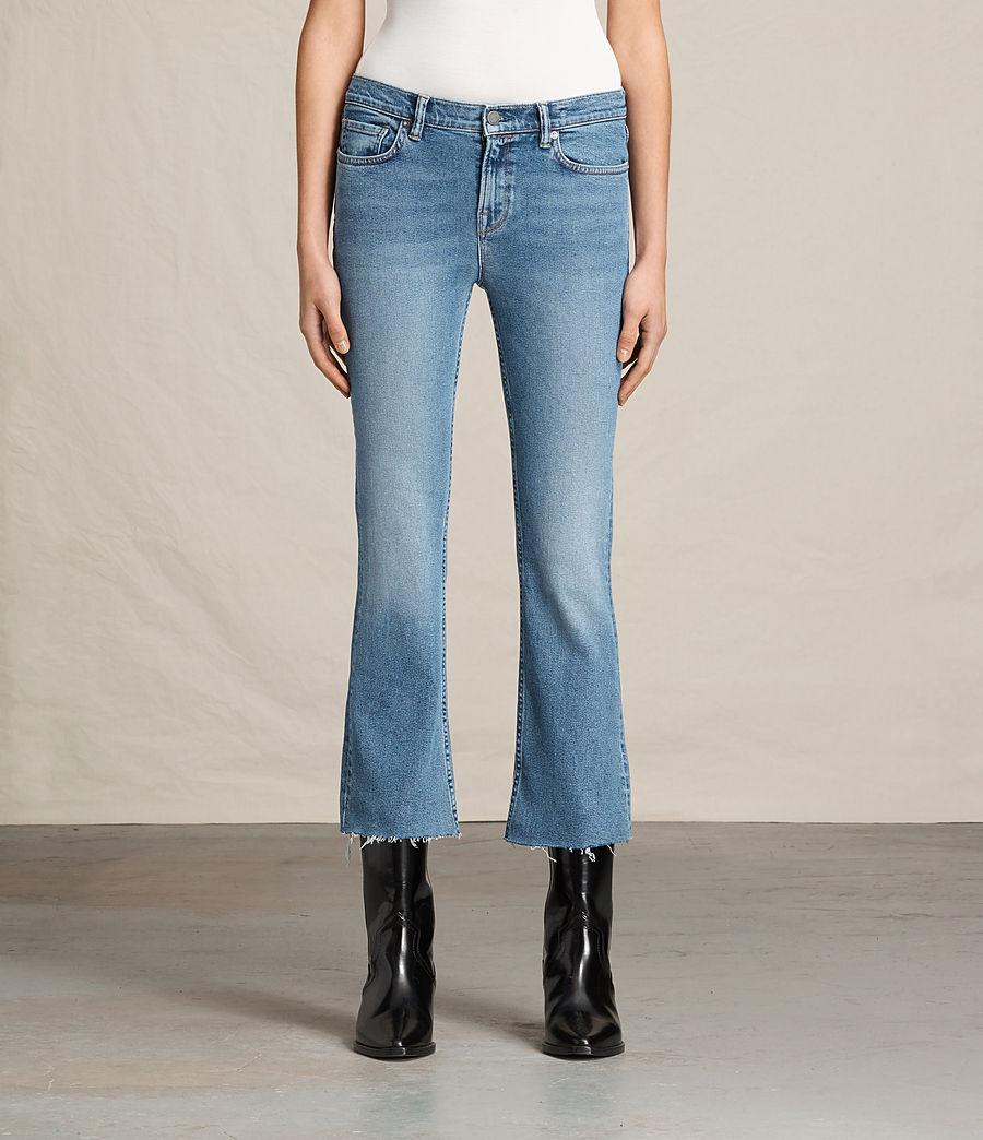 ALLSAINTS UK: Womens Zoe Cropped Bootcut Jeans (light_indigo_blue)