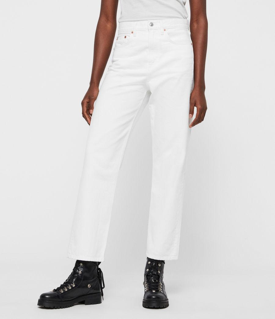 Femmes Jean Boyfriend Mari Taille Haute, Blanc Immaculé (white) - Image 1