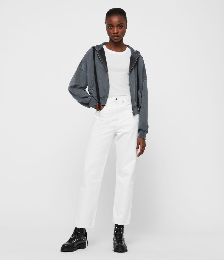 Femmes Jean Boyfriend Mari Taille Haute, Blanc Immaculé (white) - Image 3