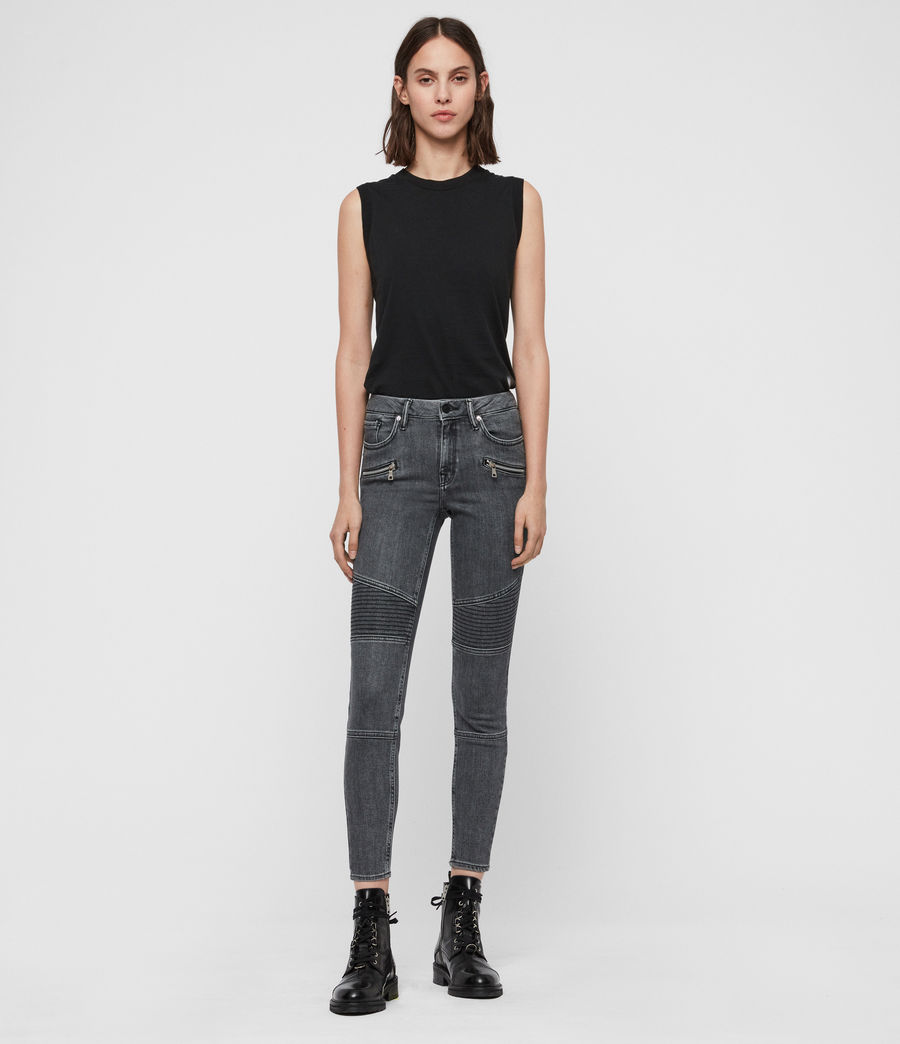 Donne Jeans Grace, Biker, Modellanti, Vita Media, Crop, Grigio (washed_grey) - Image 3