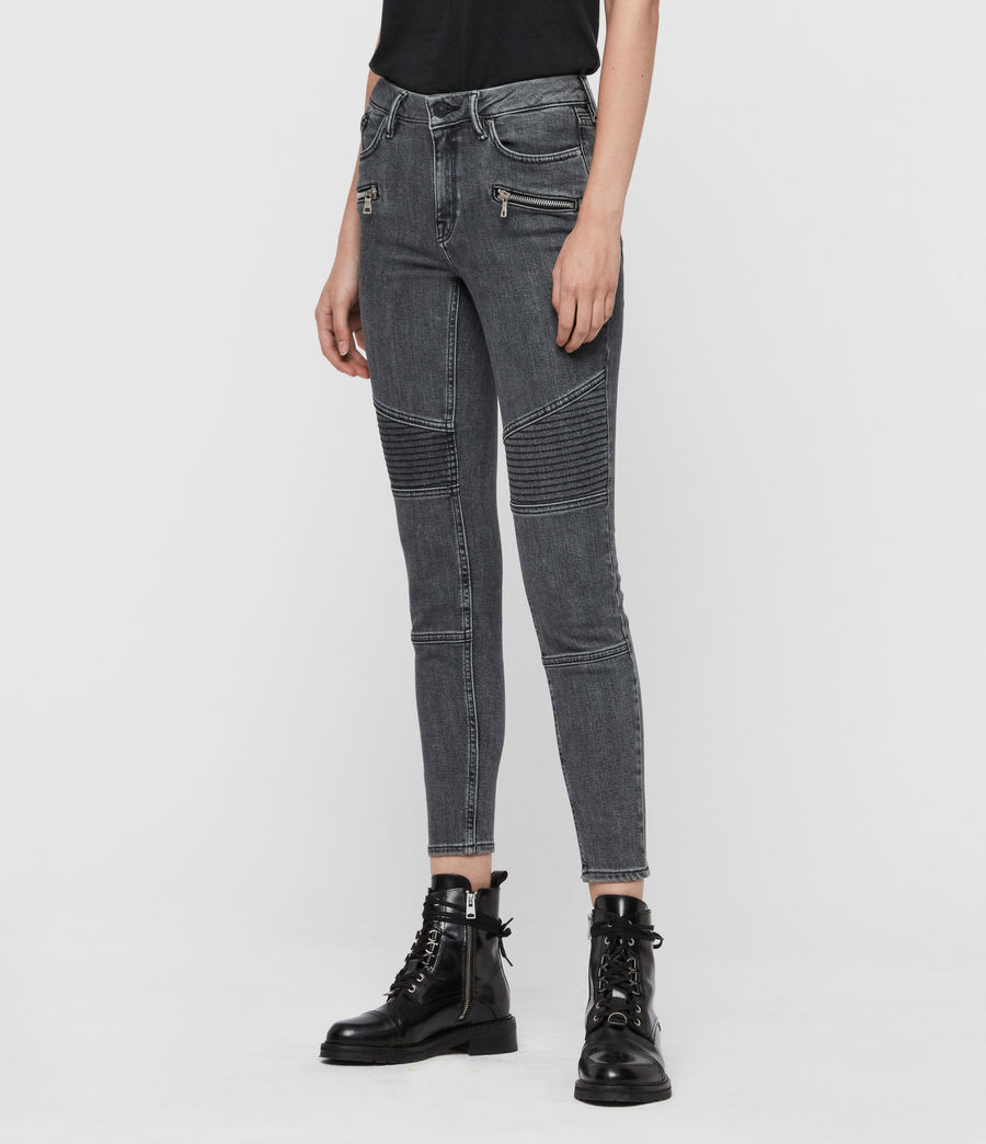 Womens Grace Biker Cropped Mid-Rise Skinny Jeans, Washed Grey (washed_grey) - Image 4