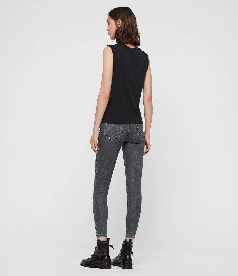 Donne Jeans Grace, Biker, Modellanti, Vita Media, Crop, Grigio (washed_grey) - Image 5