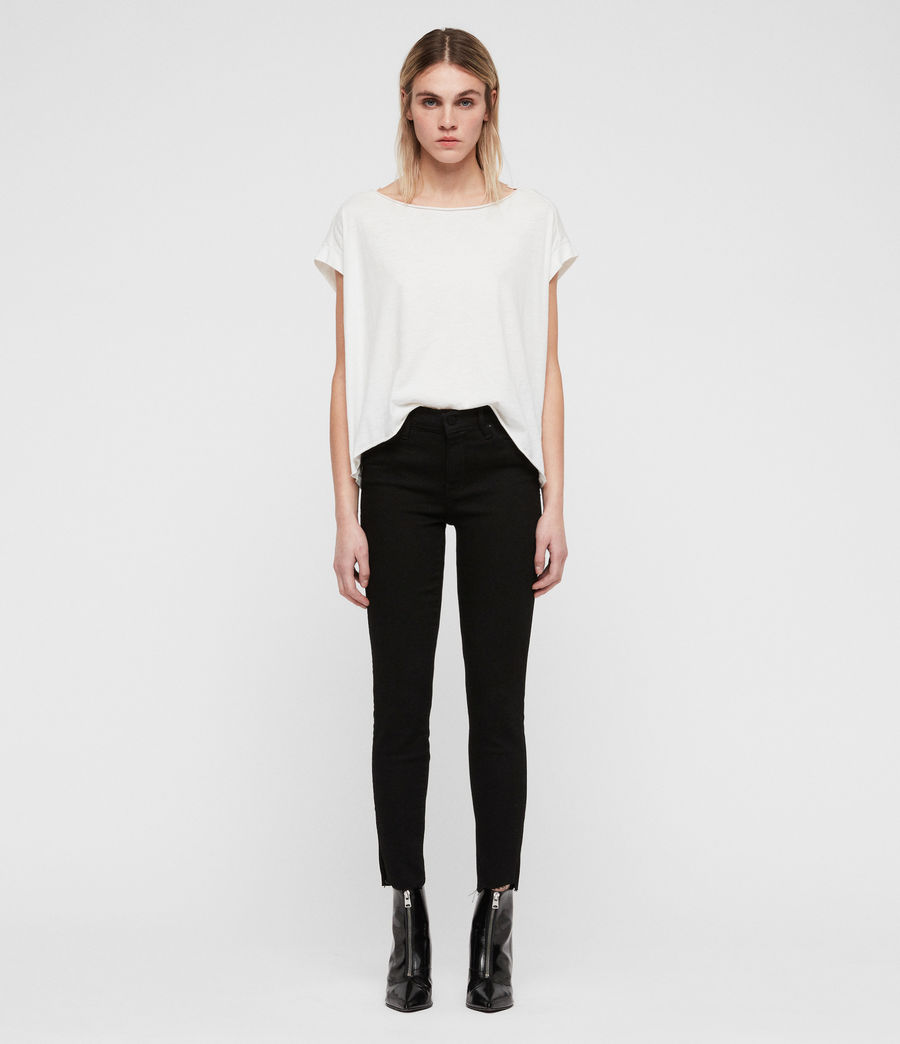 Women's Grace Ankle Fray Skinny Jeans (black) - Image 3