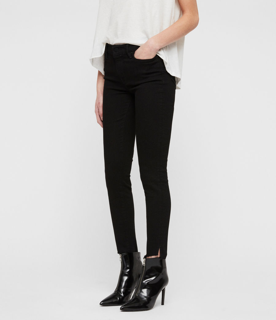 Women's Grace Ankle Fray Skinny Jeans (black) - Image 4