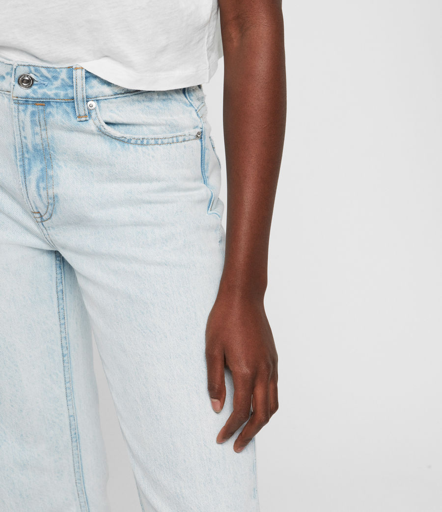 Women's Ava Acid Cropped High-Rise Straight Jeans, Light Indigo Blue (light_indigo_blue) - Image 2