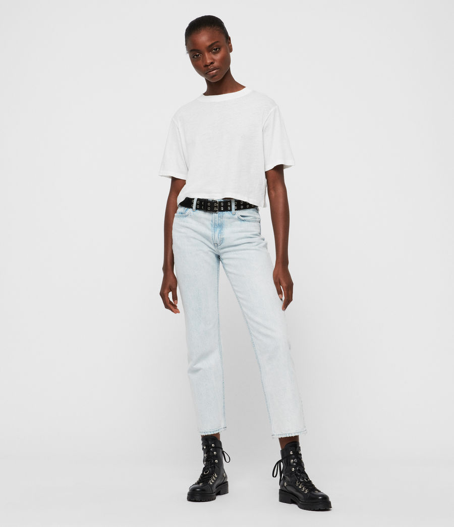 Women's Ava Acid Cropped High-Rise Straight Jeans, Light Indigo Blue (light_indigo_blue) - Image 3