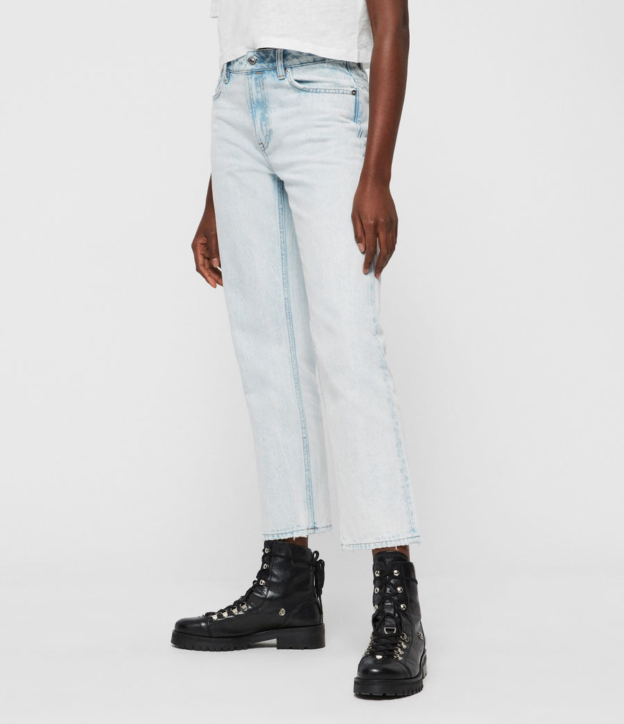 Women's Ava Acid Cropped High-Rise Straight Jeans, Light Indigo Blue (light_indigo_blue) - Image 4