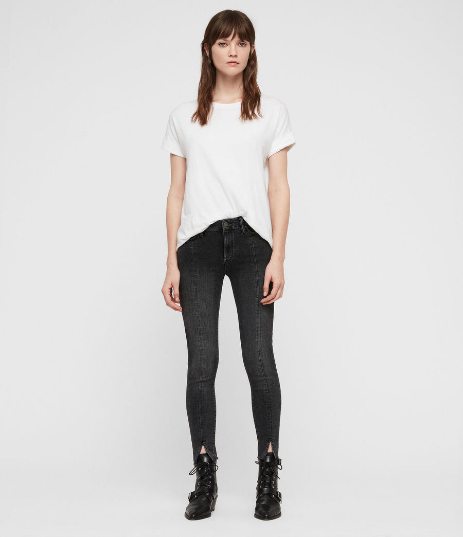 Womens Grace Split Ankle Skinny Jeans (washed_black) - Image 3