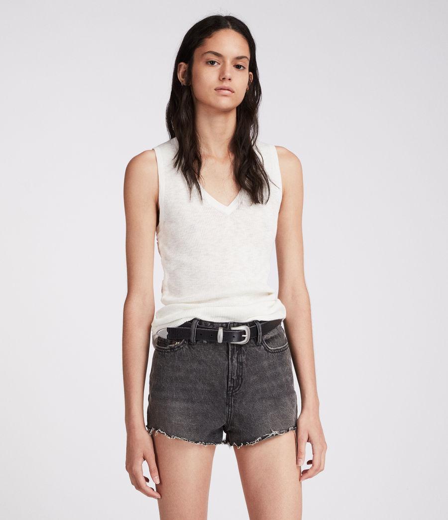 Damen Nyla Hochtaillierte Jeans-Shorts (washed_black) - Image 1