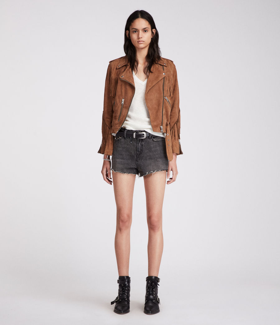 Damen Nyla Hochtaillierte Jeans-Shorts (washed_black) - Image 5