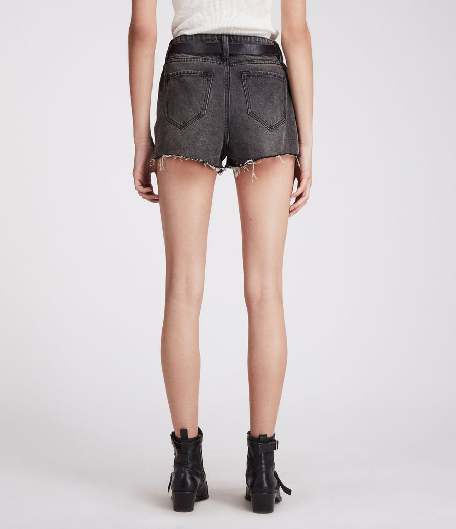 Damen Nyla Hochtaillierte Jeans-Shorts (washed_black) - Image 6