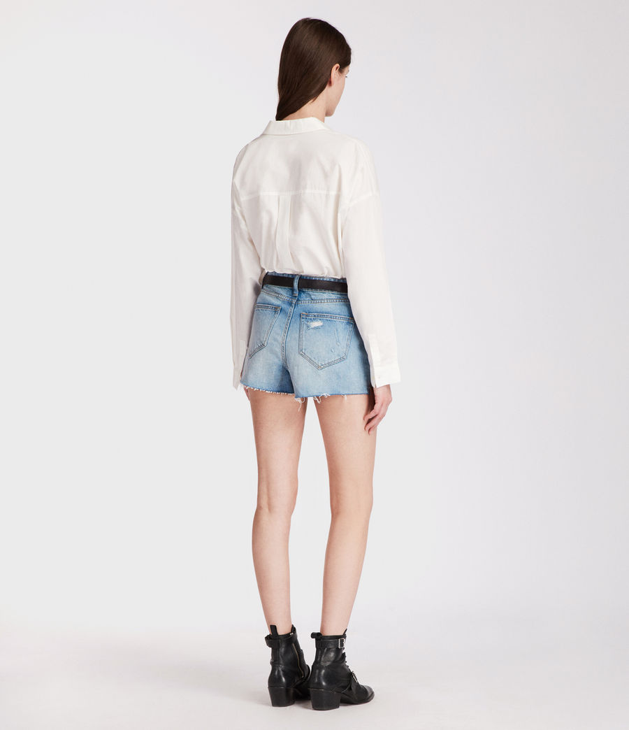 Womens Nyla High-Waisted Shorts (light_indigo_blue) - Image 4
