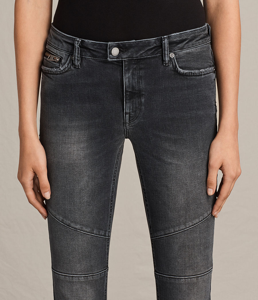Women's Biker Cropped Jeans (dark_grey) - Image 3