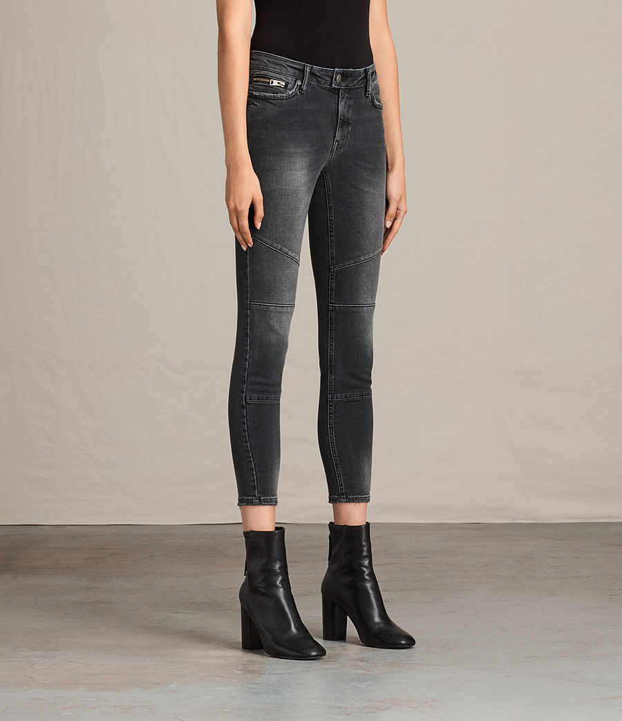 Women's Biker Cropped Jeans (dark_grey) - Image 4
