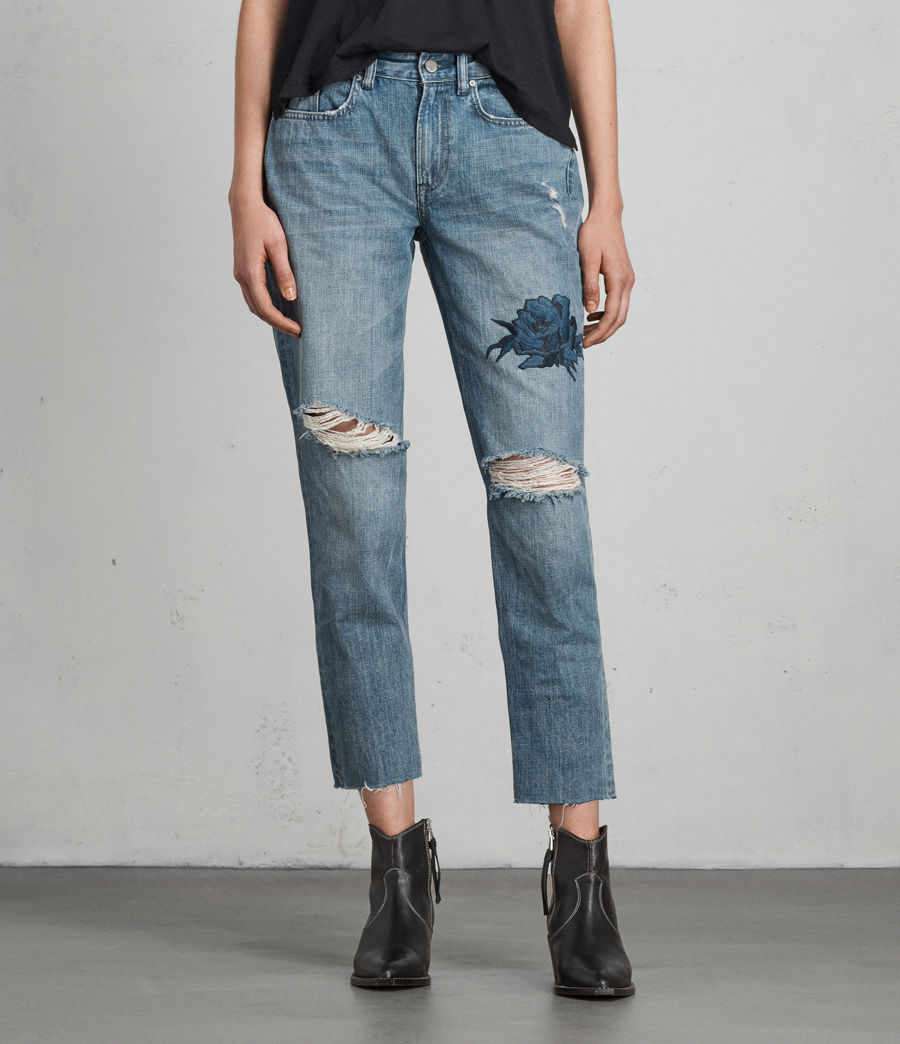 Womens Rose Boys Jeans (indigo_blue) - Image 1