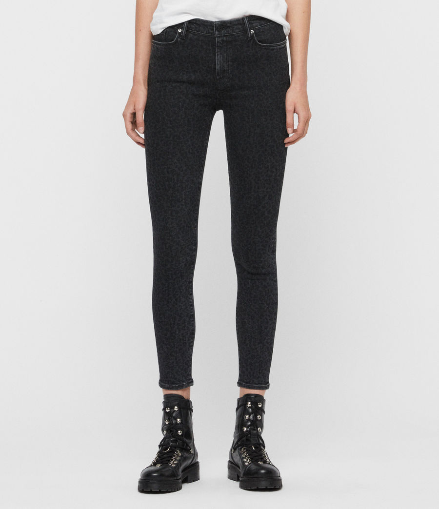 Women's Grace Leopard Cropped Mid-Rise Jeans, Washed Black (washed_black) - Image 1