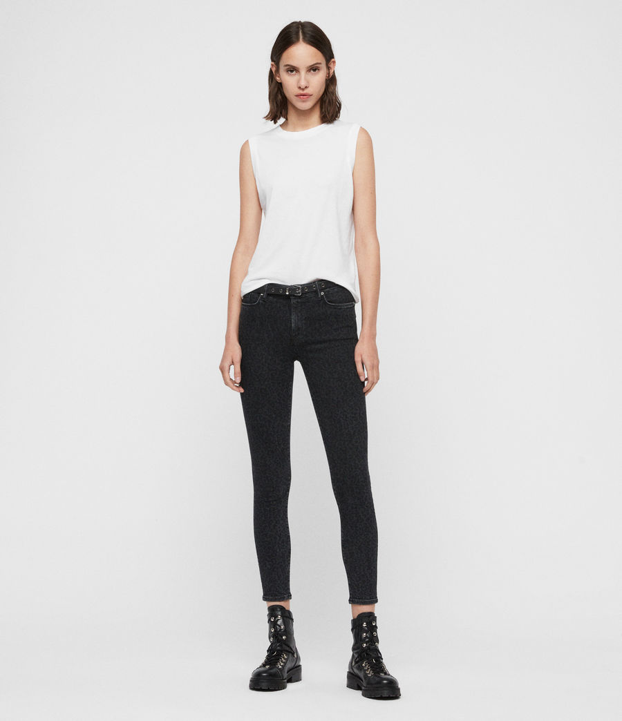 Women's Grace Leopard Cropped Mid-Rise Jeans, Washed Black (washed_black) - Image 3