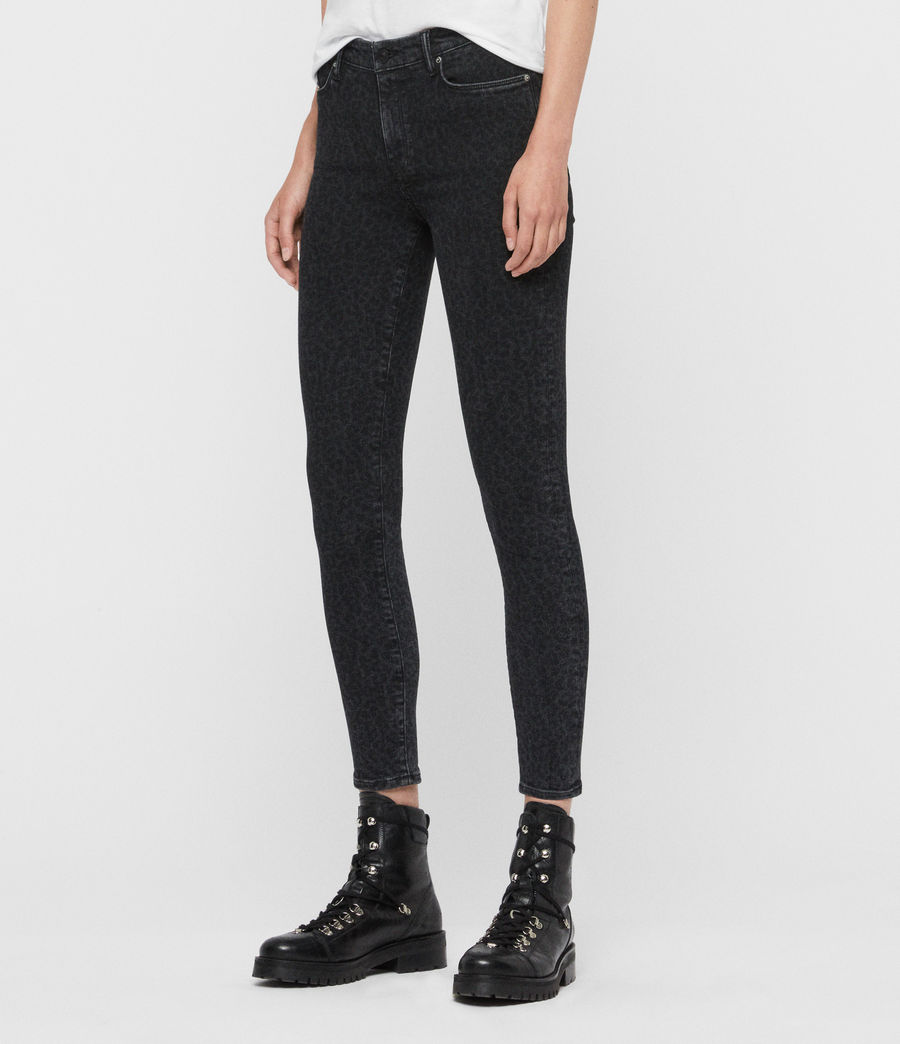 Women's Grace Leopard Cropped Mid-Rise Jeans, Washed Black (washed_black) - Image 4