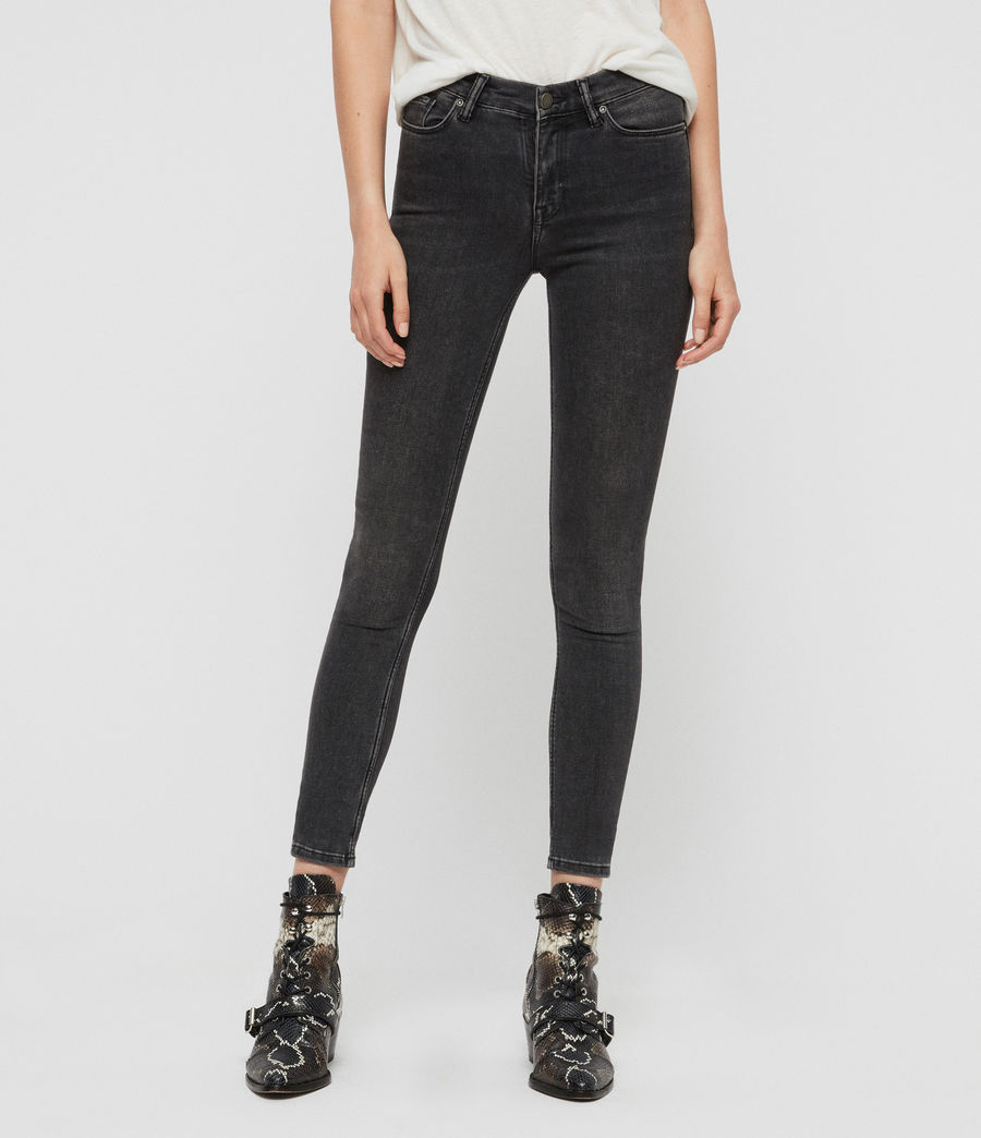 Donne Jeans Grace - Modellanti, aderenti con vita media - Nero Vintage (washed_black) - Image 1