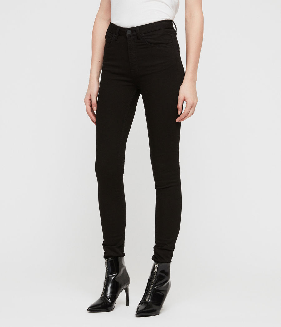 Women's Stilt High Waisted Skinny Jeans (jet_black) - Image 4