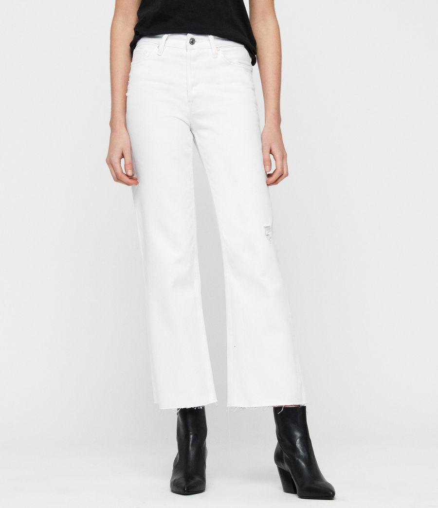 Women's Helle Crop Kickflare Jeans (white) - Image 1