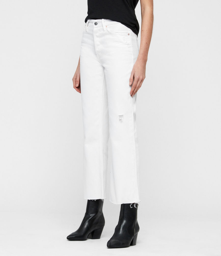 Women's Helle Crop Kickflare Jeans (white) - Image 4