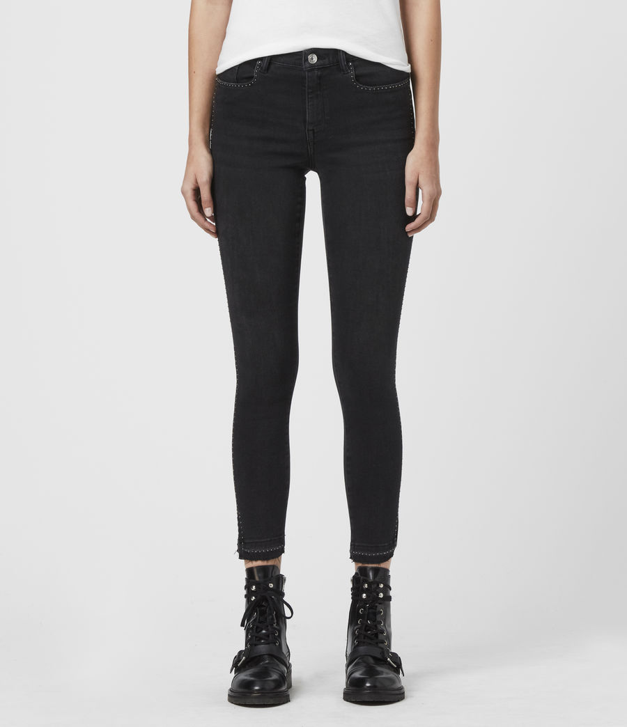 Women's Grace Ministud Cropped Mid-Rise Skinny Jeans, Washed Black (washed_black) - Image 1