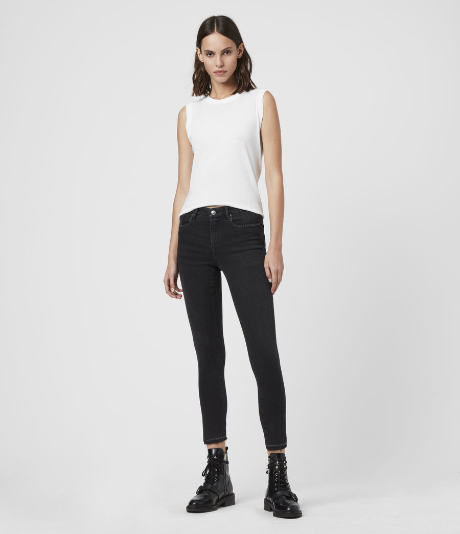 Women's Grace Ministud Cropped Mid-Rise Skinny Jeans, Washed Black (washed_black) - Image 3
