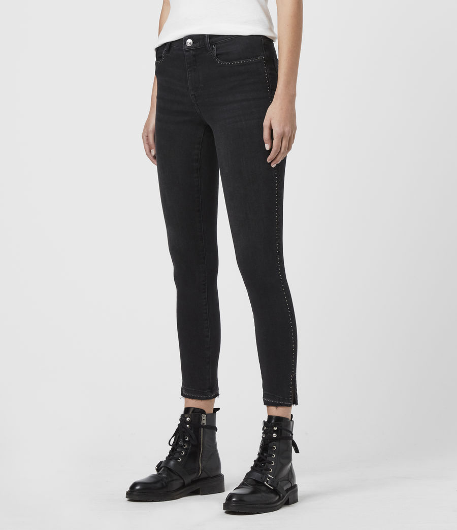 Women's Grace Ministud Cropped Mid-Rise Skinny Jeans, Washed Black (washed_black) - Image 4