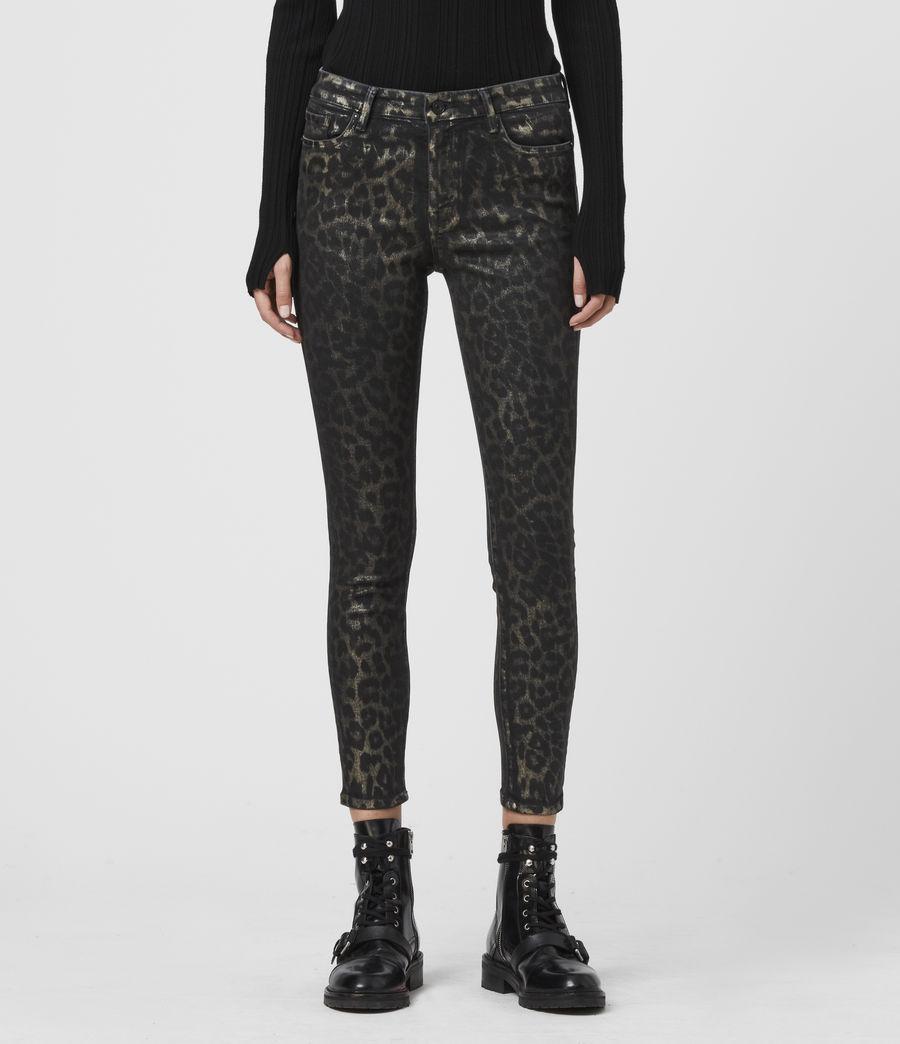 Women's Grace Cropped Mid-Rise Skinny Leopard Jeans, Bronze (bronze) - Image 1