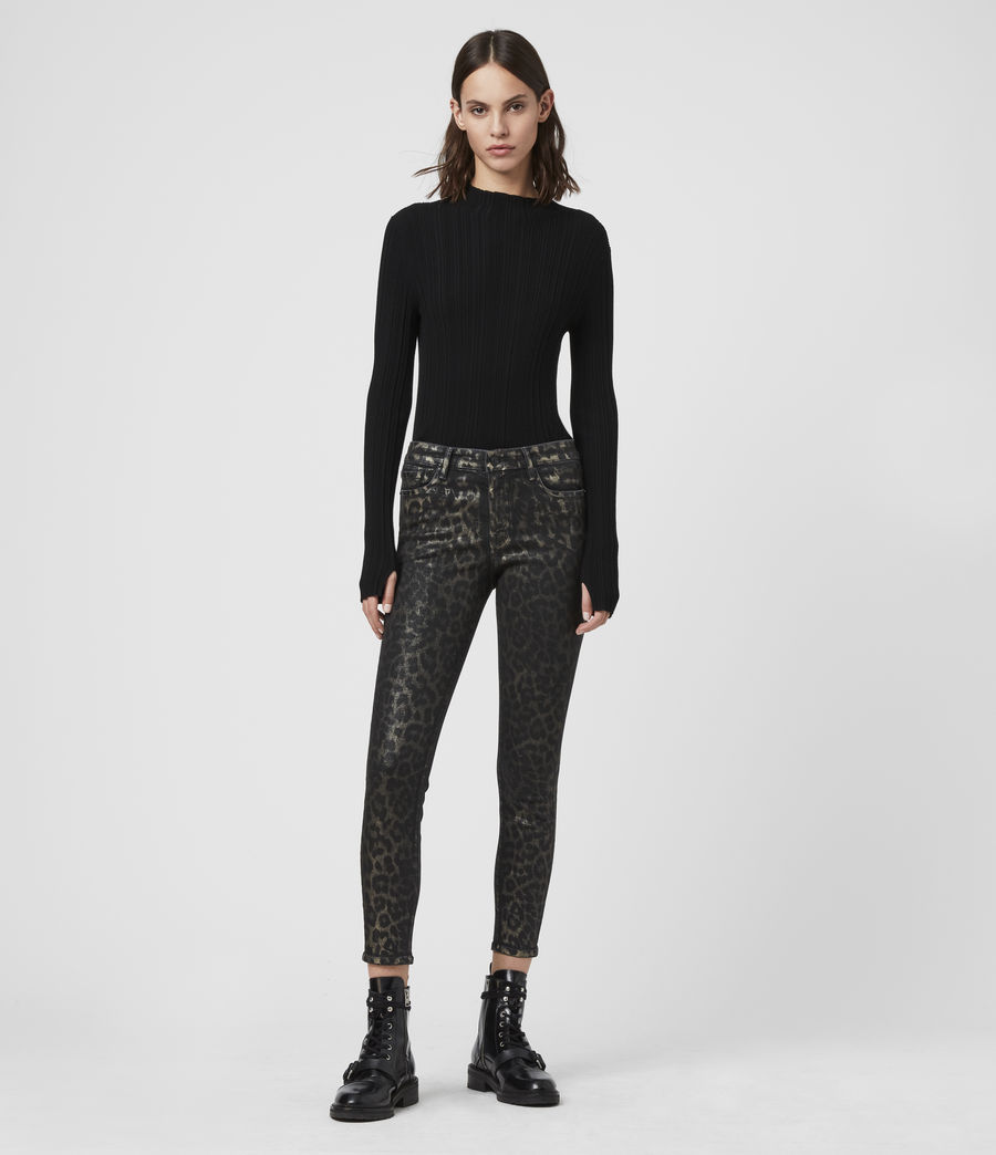 Womens Grace Cropped Mid-Rise Skinny Leopard Jeans, Bronze (bronze) - Image 3