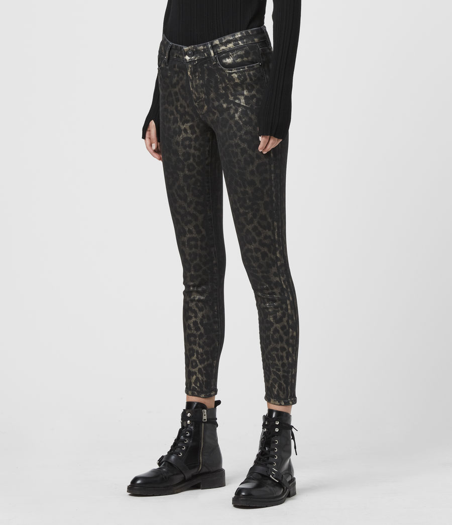 Womens Grace Cropped Mid-Rise Skinny Leopard Jeans, Bronze (bronze) - Image 4